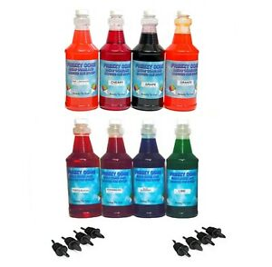 Freezy Cone 9 Quart Bottles Assorted Flavors Snow Cone Shaved Ice Syrup