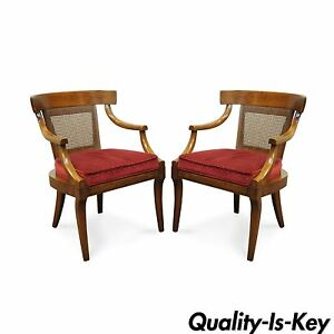 Pair Vtg Regency Curved Cane Back Solid Mahogany Saber Leg Dining Arm Chairs B