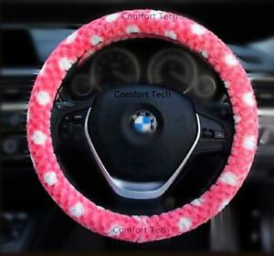 Girl Lady Fashion Fluffy Vehcle Car Suv Auto Plush Steering Wheel Cover Rosy 15