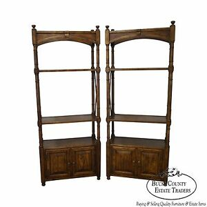 Heritage Vintage Pair Of Faux Bamboo Regency Style Oak Bookcases Etageres