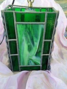 Vintage Stained Glass Light Fixture Green Slag Solid Green 8 Tall