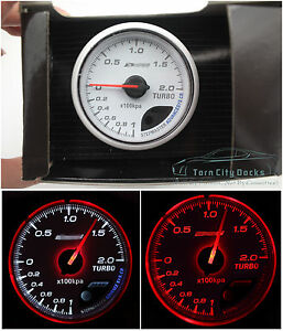 60mm Turbo Boost Gauge Red White Kap Skyline Wrx Evo Mps Ford Bf Cr Diesel 4wd