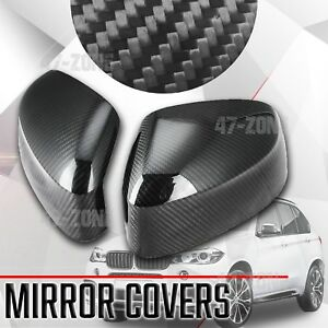 For 2014 17 Bmw X5 F15 Black Real Carbon Fiber Side Mirror Cover Overlay Trim