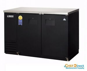 Everest Ebb48 24 49 Black Two Section Solid Door Back Bar Cooler