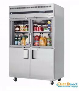 Everest Egsh4 Two Section Glass solid Half Door Upright Reach in Refrigerator