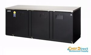 Everest Ebb90 24 89 1 4 Black Three Section Solid Door Back Bar Cooler