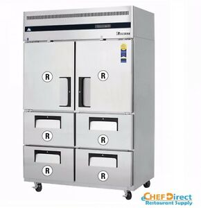 Everest Esr2d4 Two Half Door And Drawer Combo Upright Reach in Refrigerator