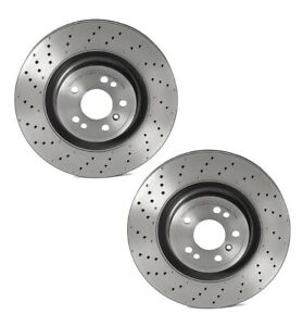 Pair Set Of 2 Front Brake Disc Rotors Drilled Pvt 350mm Brembo For Mb W166 P31