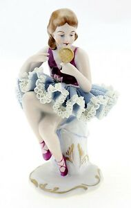 Dresden Lace Ballerina Girl Figurine With Mirror