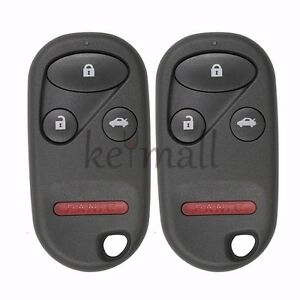 Pair Replacement Remote Key Fob 4 Btn For Honda Accord 2000 2002 Fcc Kobutah2t