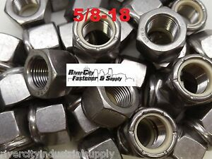 50 5 8 18 Stainless Steel Nylon Insert Lock Hex Nut Fine Thread Unf 5 8x18