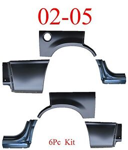 02 05 Ford Explorer 6pc Dog Leg Arch Lower Quarter Kit Rear Bed Patch New