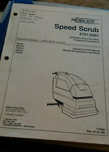 Nobles Speed Scrub 2701 3301 Automatic Floor Scrubber Operations Parts Manual