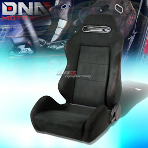 Black Type R Suede Reclinable Racing Seat Red Stitch Mounting Silder Rail Left