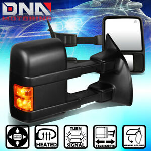 For 1999 2007 Ford F250 Super Duty Pair Powered heated led Signal Towing Mirror