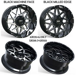 4 Four 20x10 Off Road Wheels Xtreme Mudder Chevy Gmc Ford Black 24 Offset