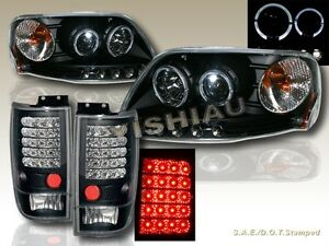 1997 2002 Ford Expedition Halo Projector Headlights Led Led Tail Lights Black