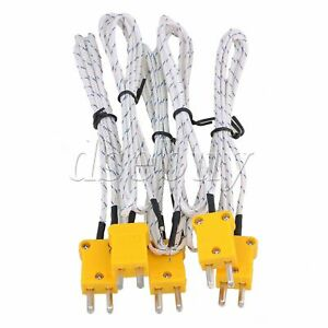 5 X Thermocouple K Type Cable Probe Sensors 1m With Mini Adapter