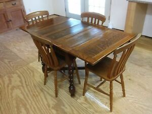 English Oak Drawleaf Table With Chairs