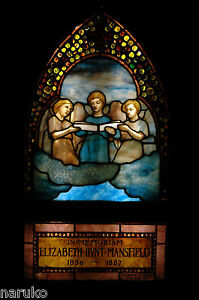 Signed Tiffany Stained Leaded Glass Window Three Angelic Choristers W Jewels
