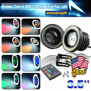 3 5 Multi color Rgb W Cob Led Angel Eye Halo Rings Drl Fog Light For Ford Usa