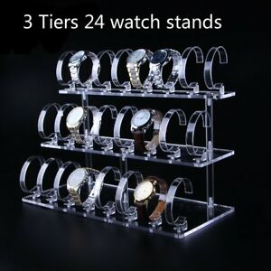 3 Tiers 24 Stands Clear Acrylic Jewelry Watch Retail Display Showcase