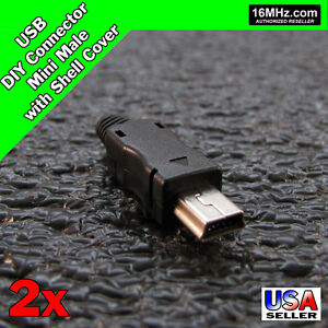 Usb Mini 2x Male Diy Connector Plug Jack Cable Replacement Shell Sets Q52