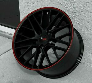 Gloss Black C6 Zr1 Red Lip Corvette Wheels For 2005 2013 C6 18x8 5 19x10