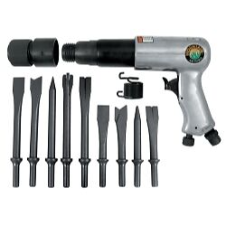 Mountain Mtn7330 250mm Long Barrel Air Hammer With 9 Piece Chisel Set