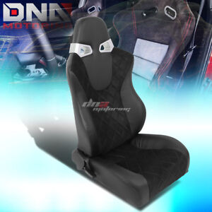 1 X Square Pattern Black Sports Racing Seats Mounting Slider Rails Right Only