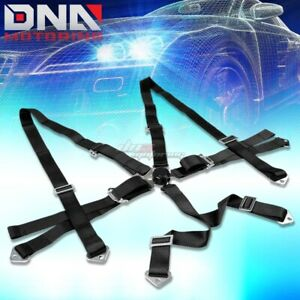 Universal 6 point 2 Black Nylon Strap Harness Safety Camlock Racing Seat Belt