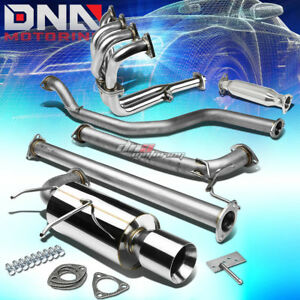4 Rolled Tip Racing Catback Black Pipe Exhaust System For 90 93 Integra Da Db