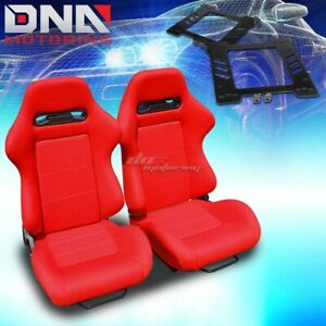 For 99 05 Golf Mk4 Jetta Bracket Type R Red Cloth Racing Seat Reclinable X2