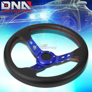 6 bolt Pvc Leather Aluminum Racing Steering Wheel 13 5 3 Deep Dish Blue red