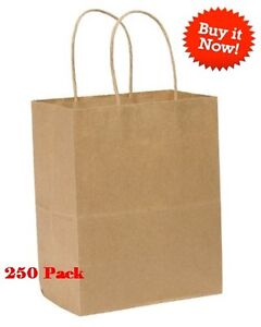 250pk Wholesale Brown Paper Shopping Bags With Handles Retail 8x4 5x10 25 Inch