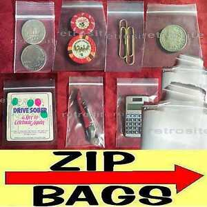 Clear Plastic Zip Lock Reclosable Poly Seal Top Bags Coins jewelry Small large
