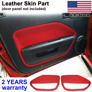 2pcs Leather Door Panel Insert Card Cover Kit For Ford Mustang 2005 2009 Red