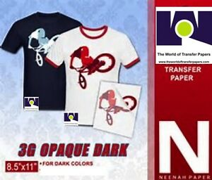 Heat Transfer Paper 3g Opaque Iron On Dark T Shirt Inkjet Paper 400 Pk 8 5x11