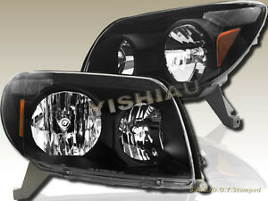 Black Oe Style Headlights Head Lamps For 2003 2005 Toyota 4runner