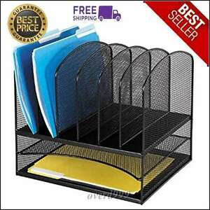 Office Desk Organizer Desktop Tray Metal Mesh Holder Sorter Document File Paper