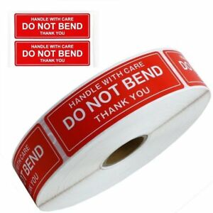 Do Not Bend Sticker Handle With Care 1 X 3 Stickers Roll Sheet Fast Shipping