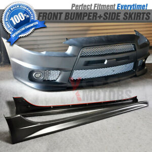 Fits 08 14 Mitsubishi Lancer Gt Black Pp Front Bumper Grill Fog Lamp Side Skirts
