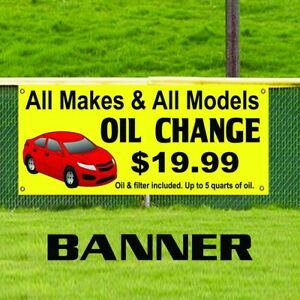 All Makes Models Oil Change Banner Business Sign Outdoor Auto Body Shop