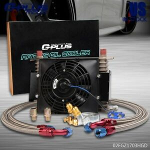 Gplus 15 Row Thermostat Adaptor Engine Transmission 10an Oil Cooler 7 Fan