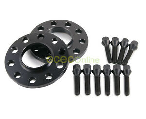 10mm Hubcentric 5x120 Wheel Spacers 74 1mm 10 12x1 5 Cone Seat Black Lug Bolts