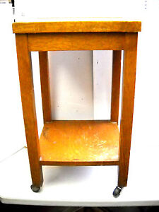 Antigue Globe Wernicke Shelved Oak Table Stand On Casters