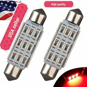 2x Led Bulb 5630 9smd 42mm Red Festoon Interior Dome Map Cargo Light 578 569 Hq