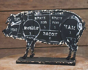 Butchers Pork Chart Standing Pig Figure Stand Primitive Country Kitchen Decor
