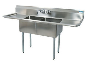 Bk Resources Two 20 x20 x12 Compartment Sink S s Leg 18 Drainboard L