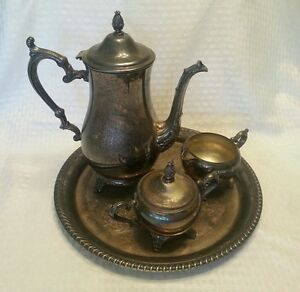Wm Rogers Son 2601 Silver Tea Set Teapot Creamer Sugar Bowl W Lid Tray